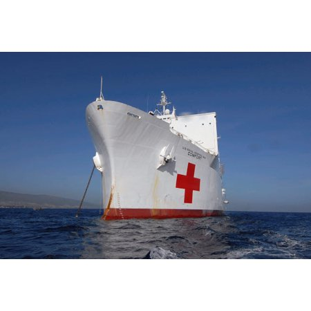 Military Sealift Command Ships - The Military Sealift Command hospital ship USNS Comfort Poster Print by Stocktrek Images