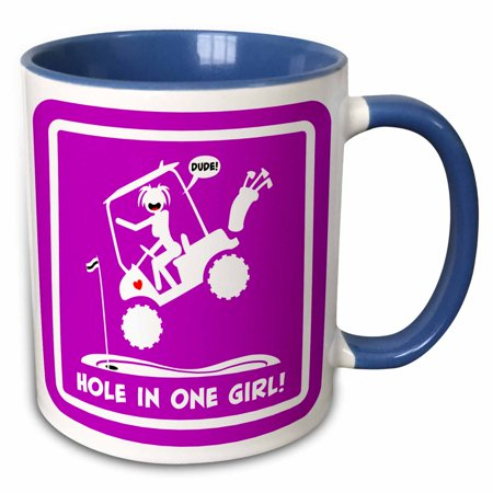 3dRose a pink sign of a hole in one being made by a stickgirl and her golf cart - Two Tone Blue Mug, 11-ounce