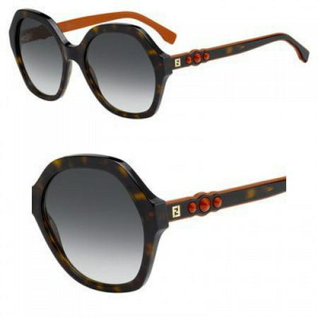 Fendi FF0270/S 086 Dark Havana FF0270/S Round Sunglasses Lens Category 3 Size 5