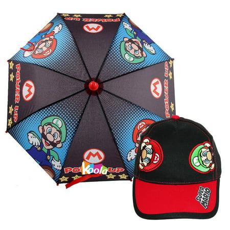 Super Mario Kids Umbrella Mario and Luigi Power Up with Bros Baseball Cap - Girl Mario And Luigi
