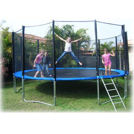 Zimtown 12 feet Round Trampoline with Safety Enclosure Net and Bounce Jump Spring Pad Ladder Combo, for Children Young One, Enfant Backyard Entertainment