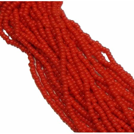 Light Red Opaque Czech 8/0 Glass Seed, Loose Beads, 12 Strand Hank Preciosa