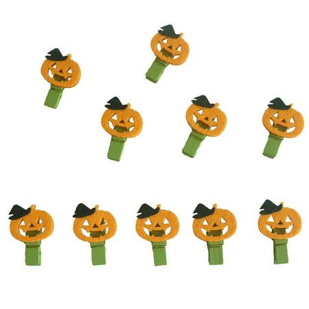 10pcs Halloween Pumpkin Wood Clip Clothespins Photo Clip Halloween