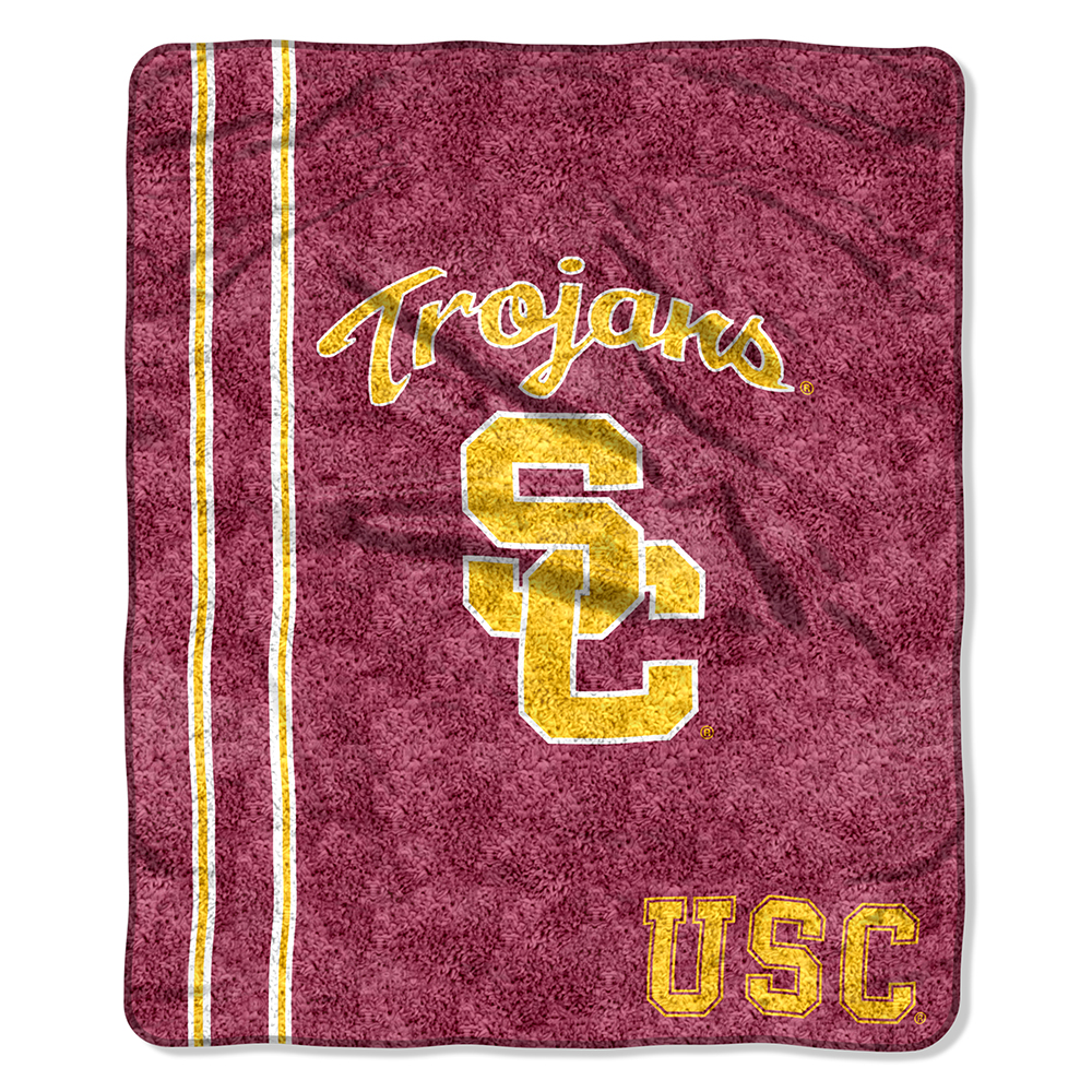 USC Southern Cal Trojans NCAA Jersey Design Sherpa 50x60 Fleece Plush Throw