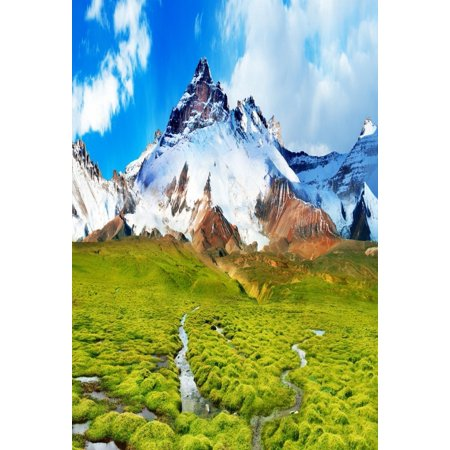 HelloDecor Polyster 5x7ft Photography Background Natural Scenery Outdoor Photo Album Shoot Snow Mountains Green Grass Field Blue Sky Children Lovers Adults Portraits Photo Studio Props