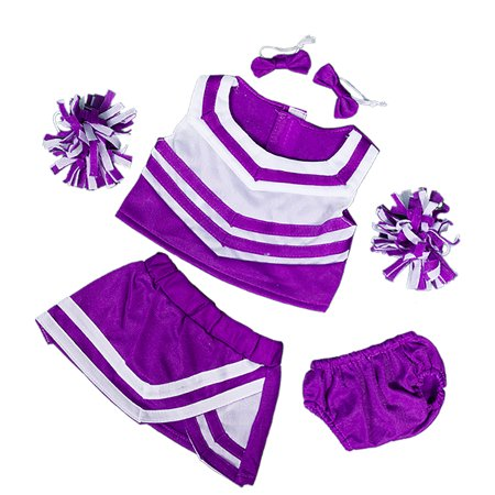 Purple & White Cheerleader Uniform Teddy Bear Clothes Fits Most 14