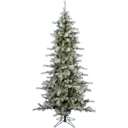Fraser Hill Farm 9 Ft. Buffalo Fir Slim Artificial Christmas Tree with LED String