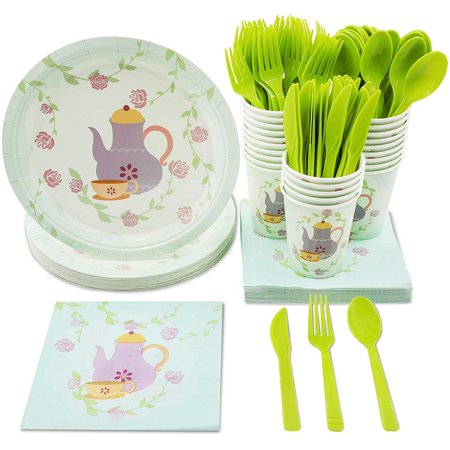 Tea Party Supplies – Serves 24 – Includes Plates, Knives, Spoons, Forks, Cups and Napkins. Perfect Birthday Party Pack for Girls Themed Tea Parties, Vintage Floral Tea Party Design (Girl Birthday Themes Ideas)