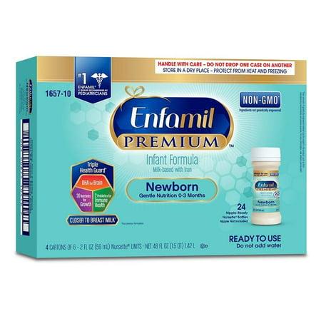 Enfamil Newborn PREMIUM Formula, Ready-to-Use, 2 fl.oz. Nursette Bottles (24 Count) Infant Newborn Baby Formula