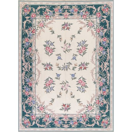 Hand Woven Aubusson Rugs (RugSelect Floral Green Large Aubusson Chinese Oriental Hand-Woven Area Rug)
