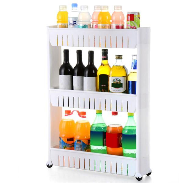 Topeakmart 3 Tier Rolling Castor Kitchen Trolley Spice Rack White