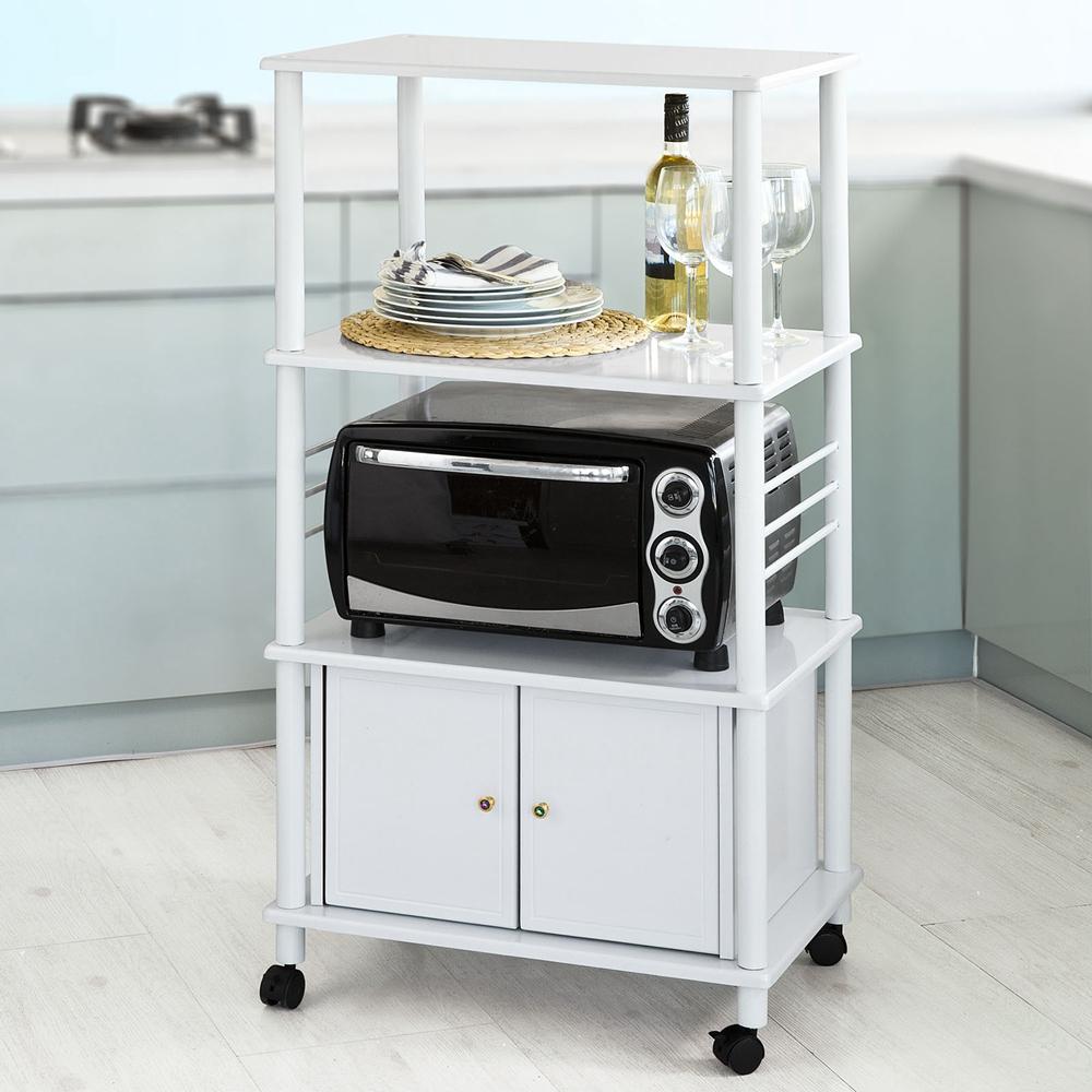 Haotian White Microwave Shelf, KitchenWheeled Storage Tro...