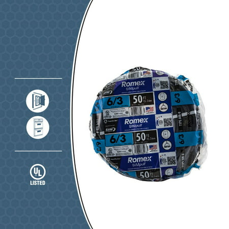 Romex 63950032 50 ft. 6/3 Black Stranded CU SIMpull NM-B Wire