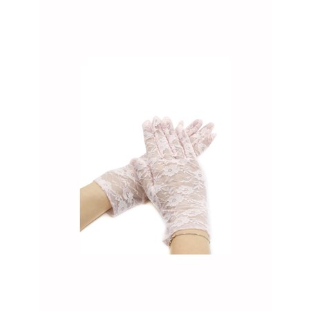 Lady Floral Lace Wrist Length Full Finger Gloves Pair
