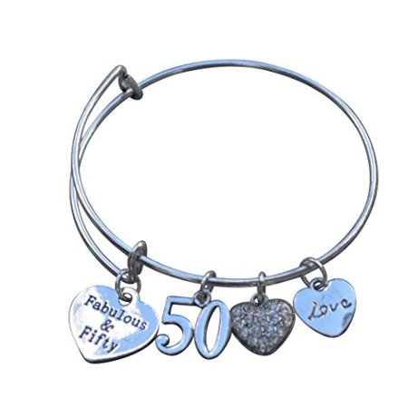- 50th Birthday Gifts for Women, 50th Birthday Expandable Charm Bracelet, Adjustable Bangle, Perfect 50th Birthday Gift Ideas