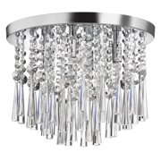 Dainolite 4 Light Crystal Flush Mount Fixture - Polished Chrome