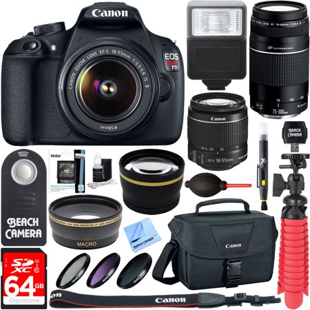 Canon EOS Rebel T5 DSLR Camera w/ EF-S 18-55mm IS II + EF 75-300mm f/4-5 6  III Lens Kit + Accessory Bundle 64GB SDXC Memory + Photo Bag + Wide Angle