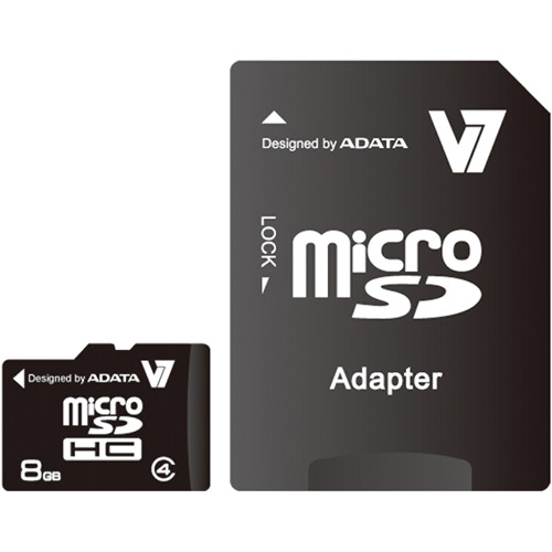 V7 8GB Micro SD (microSDHC) Memory Card with SD Adapter - 8 GB Class 4 Fast Speed