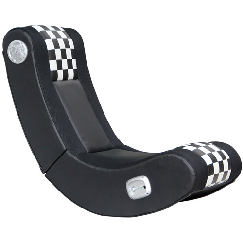 X Video Rocker Drift 2.1 Wireless Audio Gaming Chair, Black/White Checkered Flag, 5171101