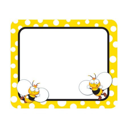 (6 Pk) Buzz-Worthy Bees Name Tags Brighten your classroom with these fun self-adhesive name tags from the new BuzzWorthy Bees collection! Stay organized and get creative using these ready-to-use name tags for games, storage boxes, charts, even folders. The name tags are also perfect for class trips or open houses. Look for coordinating products in this character theme and an assortment of coordinating color palette designs to create an exciting, cohesive classroom theme! Pack includes 40, 3  x 2 1/2  self-adhesive name tags. 40 name tags per pack, bundle of 6 packs, 240 tags total