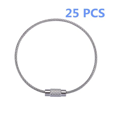 25 PCS Stainless Steel Wire Keychain Cable Key Ring Chain Loop, Aircraft Cable Rings Chains, Tags Loops