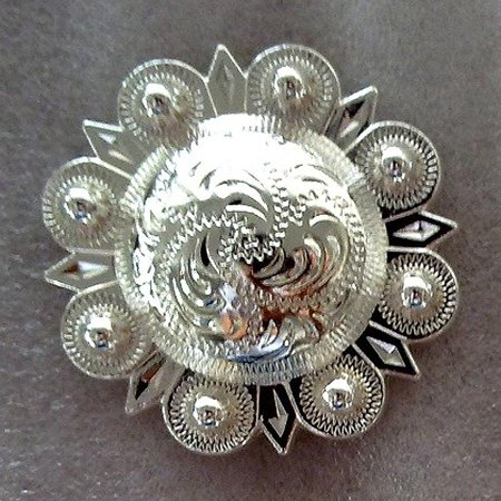 Chinese Silver Horse - 1 PC HILASON SILVER ENGRAVED ROUND BERRY CONCHOS SADDLE HEADSTALL HORSE 1.5