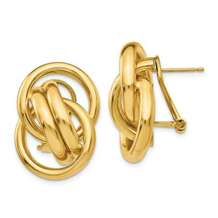 14K Yellow Gold Earring Button Women'S 26 mm 18 Polished Fancy Omega Back Post Earrings