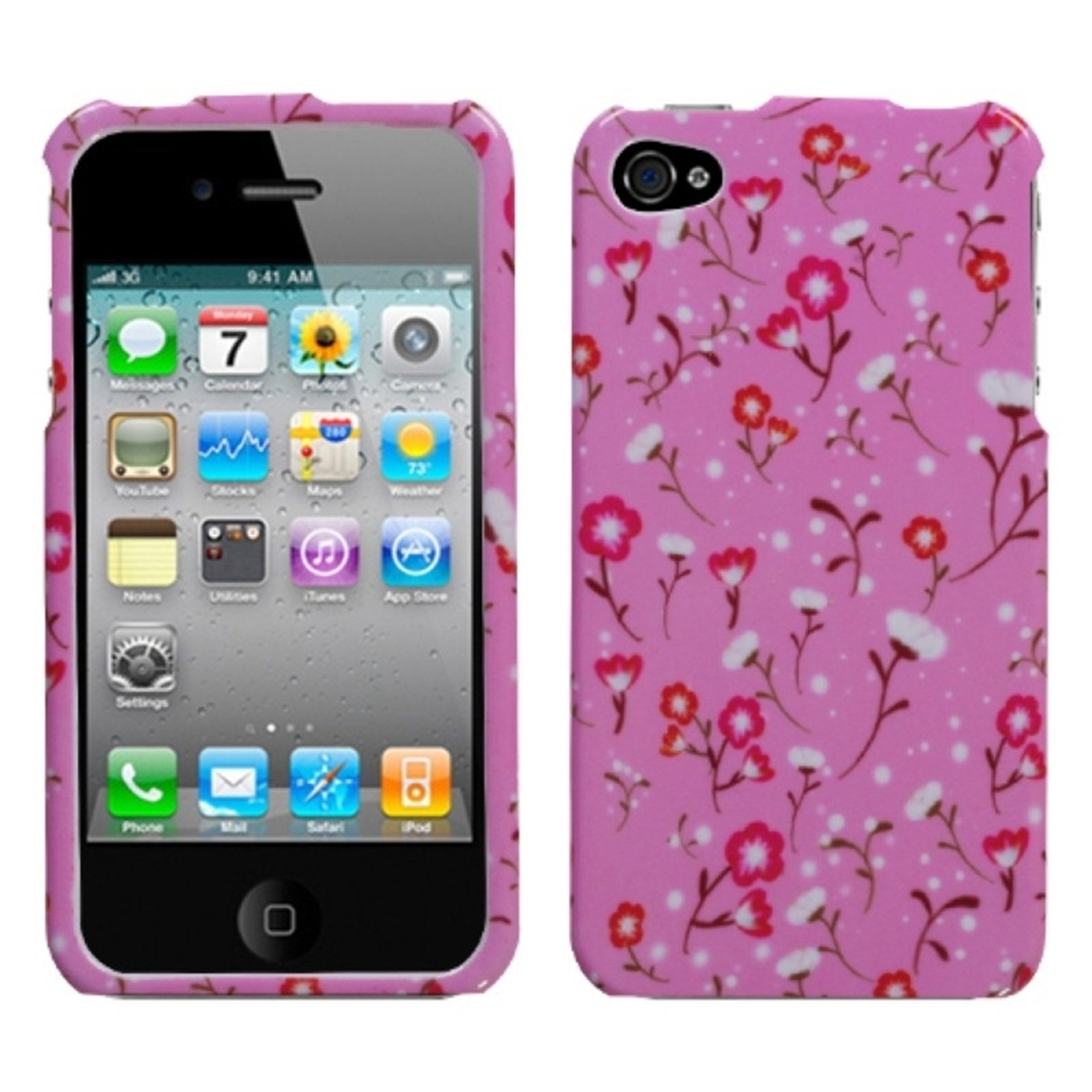 Insten Starburst Flower Pink Case For iPhone 4 4S