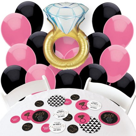 Girly Party Decorations (Girls Night Out - Confetti and Balloon Bachelorette Party Decorations - Combo)