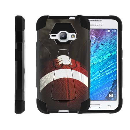 Case for Samsung Galaxy J100/J1 | Galaxy J100/J1 Hybrid Cover [ Shock Fusion ] High Impact Shock Resistant Shell Case + Kickstand - Football Lace Close Up