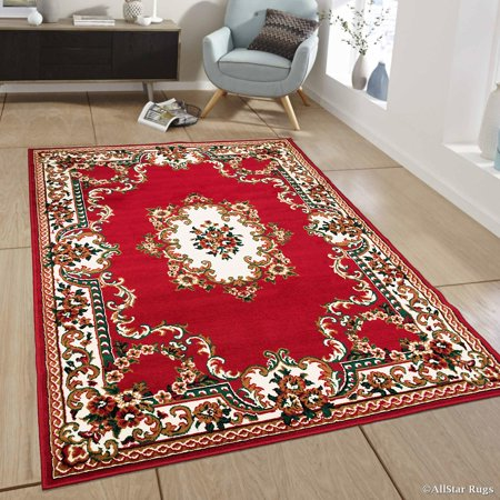 Allstar Red Woven High Quality Rug. Traditional. Persian. Flower. Western. Design Area Rug (5