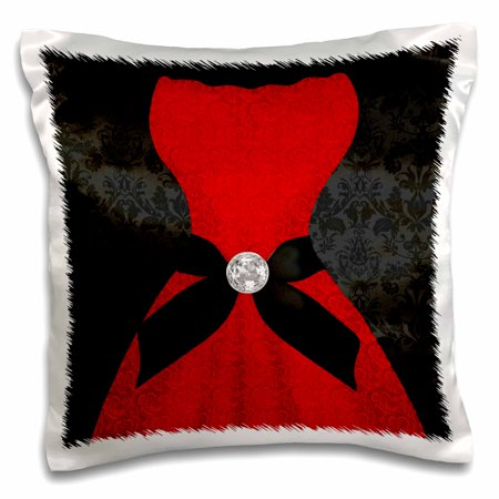 3dRose Red Strapless Dress with Black Damask and Bling - Pillow Case, 16 by - Strapless Pillow