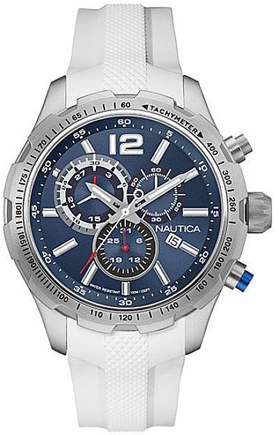 Men's Nautica Chronograph White Silicone Band Watch NAD15511G by Nautica