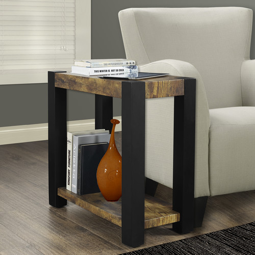 Monarch Accent Table Black   Distressed ReclaimedLook Top by Monarch Specialties
