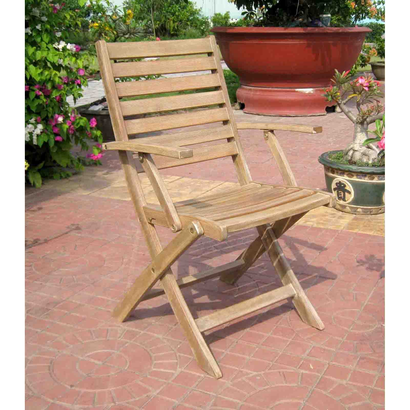 International Caravan Chelsea Acacia Folding Ladder Back Patio Dining Chair - Set of 2