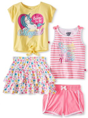 a8e683c0e685b Product Image Limited Too T-shirt, Tank Top, Ruffle Skirt & Shorts, 4pc  Outfit