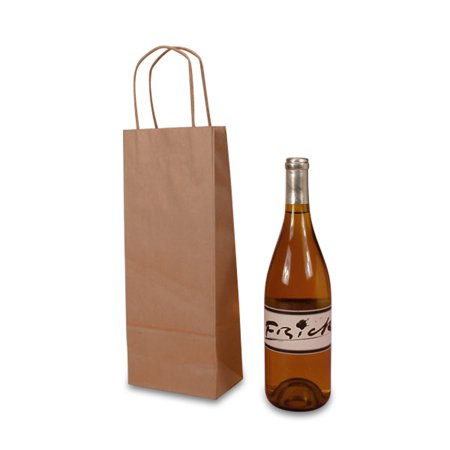"""Natural Kraft Wine Handle Bags 