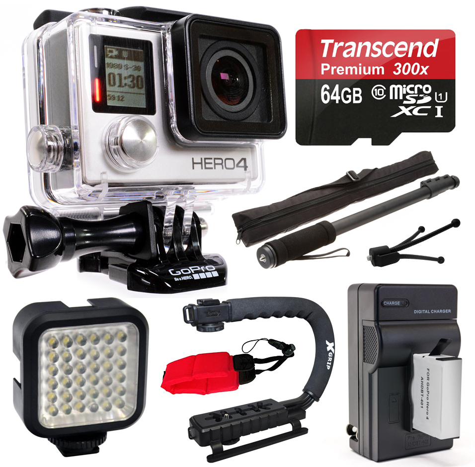 GoPro HERO4 Hero 4 Black Edition 4K Action Camera Camcorder with 64GB MicroSD Card, Battery + Charger, Opteka X-Grip, Selfie Stick, Night LED Video Light, Mini Tripod, Cleaning Kit (CHDHX-401)