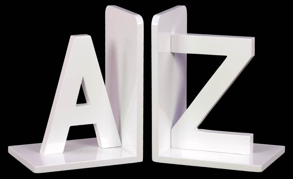 """2-Pc Wood Alphabet Sculpture """"AZ"""" Bookend in White by Urban Trends Collection"""