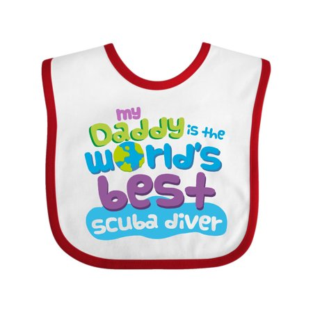 My Daddy is the World's Best Scuba Diver Baby Bib White/Red One Size