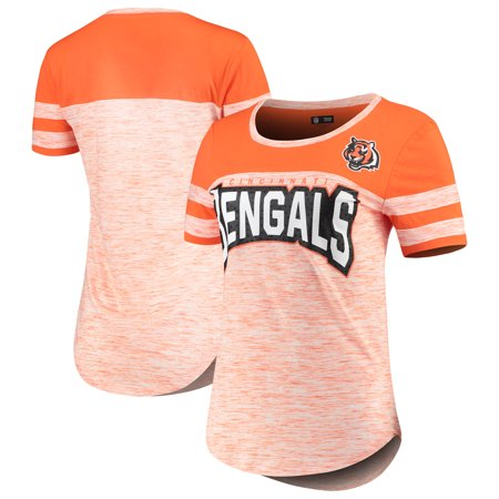 Cincinnati Bengals New Era Women's Space Dye Bling T Shirt Orange