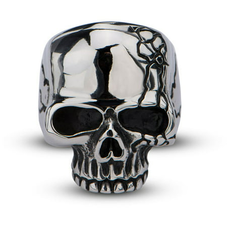 White Gold Skull Ring (Men's Stainless Steel Polish Finished Skull Ring with Crack )
