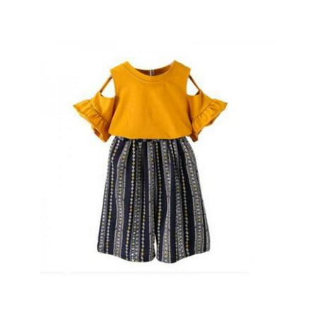 Bavy Summer Baby Girls Off-shoulder Design T-shirt Tops+Striped Short Pants Casual Outfits Sets