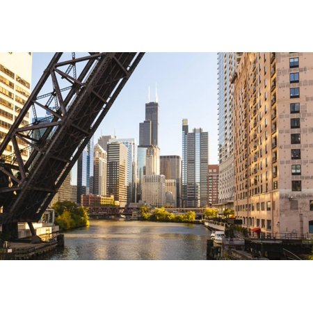 Chicago River and Towers of the West Loop Area,Willis Tower, Chicago, Illinois, USA Print Wall Art By Amanda