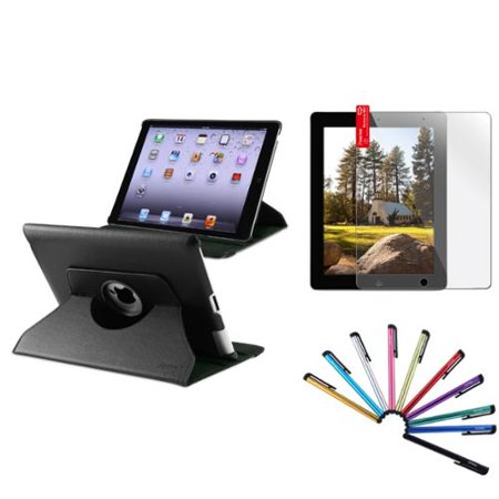 Insten Black For Apple iPad 4 4th 3 3rd 2 360 Rotating PU Leather Case Cover Swivel Stand
