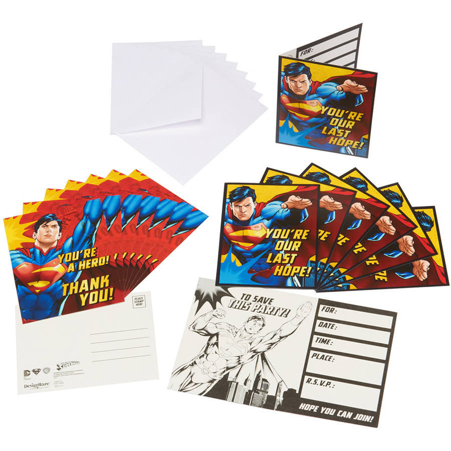 Superman Invite and Thank-You Combo Pack, 8 Count, Party Supplies