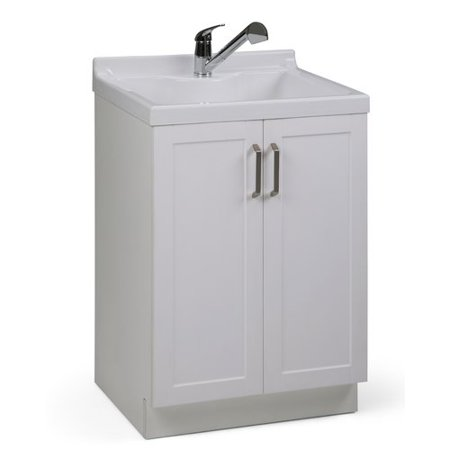 Simpli Home Kyle 24 Inch Laundry Cabinet With Pull Out Faucet And Abs Sink