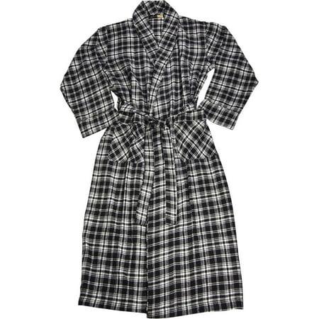 Norty Mens Soft Brushed Preshrunk Cotton Flannel Shawl Collar Bathrobe - 8 Prints, 40812 Black/White Plaid / X-Large - Mens Hooded Bathrobe