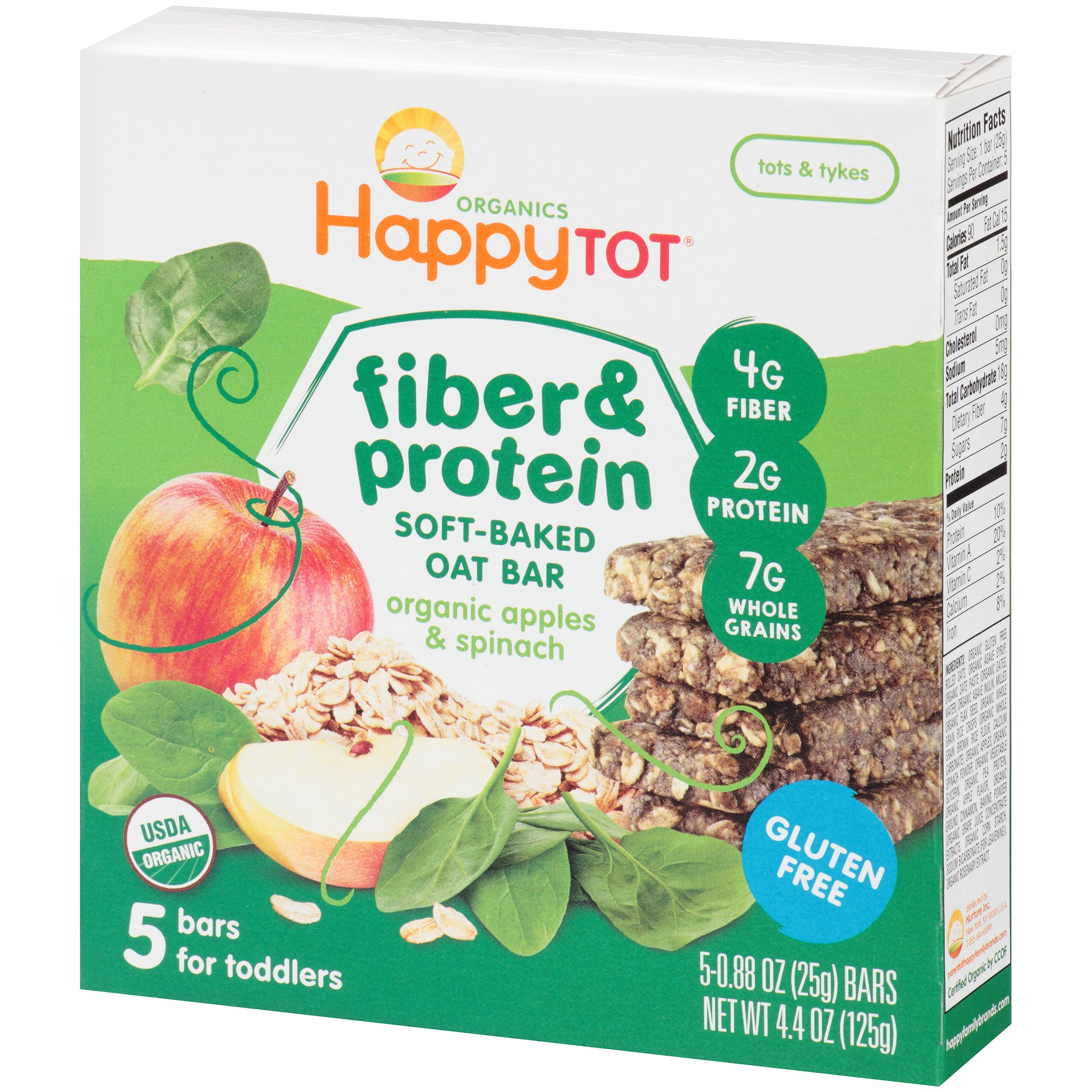 Happy Tot Organics Fiber & Protein Organic Apples & Spinach Soft-Baked Oat Bars, .88 oz, 5 count