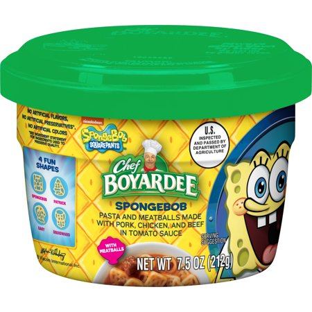 Chicken Pasta Tomatoes - Chef Boyardee SpongeBob Pasta and Meatballs Made with Pork, Chicken, and Beef in Tomato Sauce, 7.5 Ounce